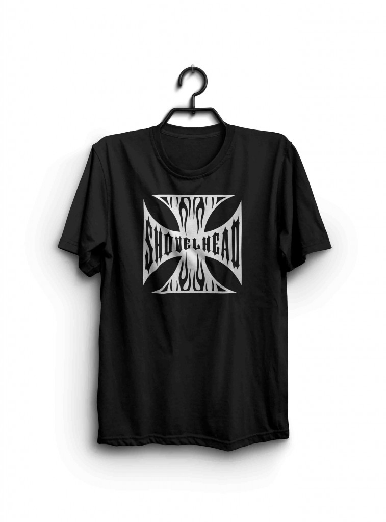 Shovelhead shirt. Iron cross with flames